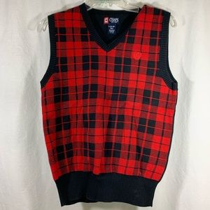 Chaps Youth Large 14-16 Red/Black Sweater Vest